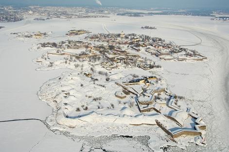 Ilmakuva talvi koko linnoitus miinus sarkka